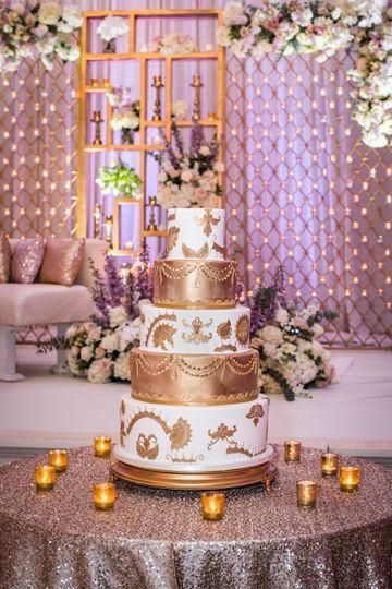 White & gold Indian cake