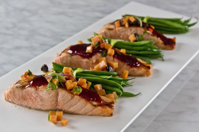Salmon with sweet potato and tamarind salsa with haricot verts bundles