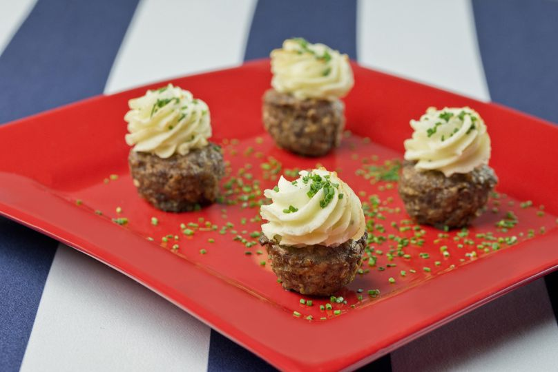 "Savory meatloaf ""cupcakes"" with whipped potato"