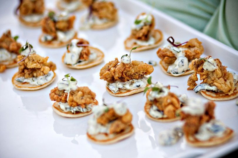 Fried oysters with poblano remoulade on crostini
