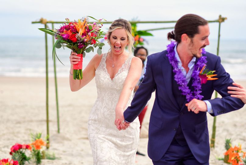 Cynthia Viola Photography, beach wedding, tropical flowers, navy suit