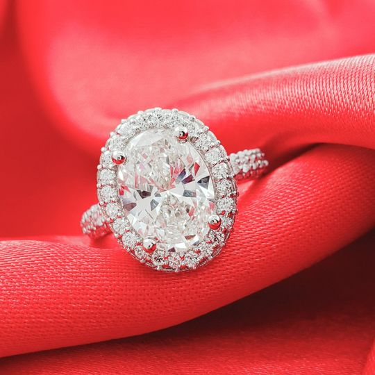 Oval Cut Halo Style Ring