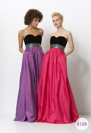 Fun and flirty, velvet and taffeta ball gown style evening gown with pockets! This special occasion...