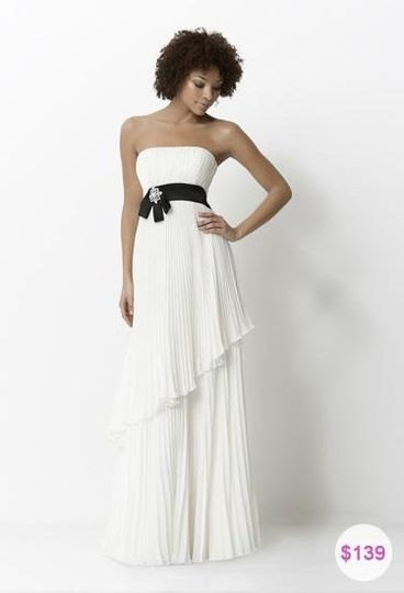 Modern and sophisticated, chiffon and charmeuse, full-length bridesmaid dress with 2-tier pleated...