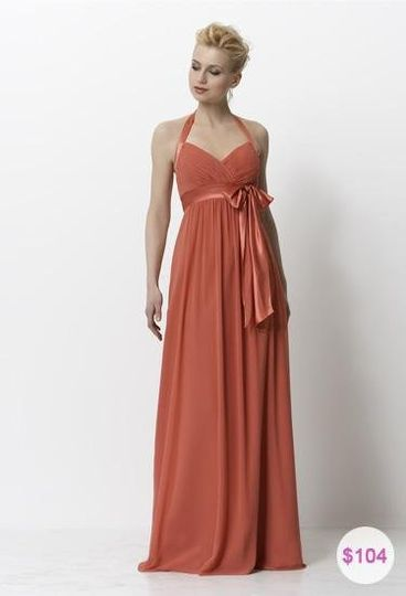 Young and sweet, chiffon and charmeuse, halter full-length bridesmaid dress.  Customize the colors...
