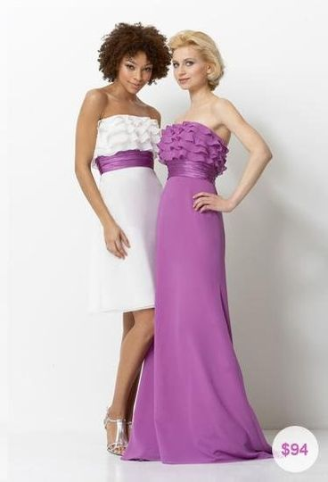 Unique and romantic, chiffon and charmeuse, strapless tea-length bridesmaid dress with ruffle...