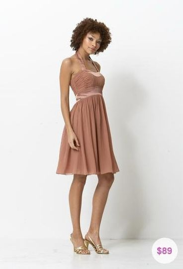 Young and modern chiffon and charmeuse, square neck halter, tea-length bridesmaid dress. This...