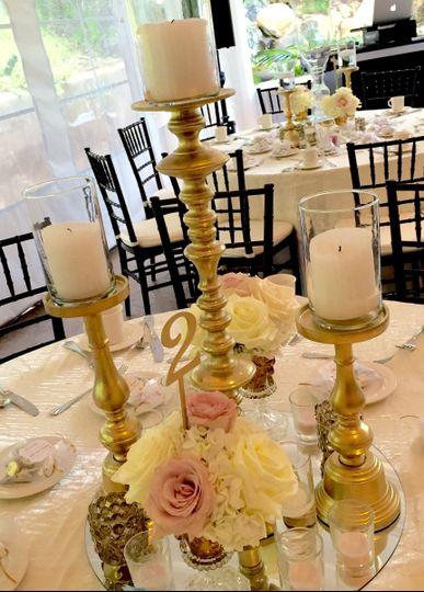 Hi-low Centerpieces with pillar candles