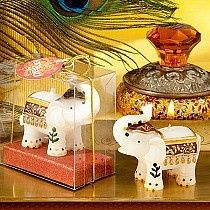 Good Fortune Elephant Candle Favor brings Far Eastern flair to your wedding reception,  Hand...