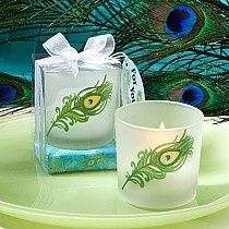 Peacock theme tea light candle holders in gift box