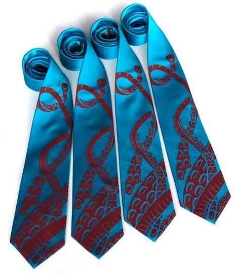 Sucker necktie, crimson on turquoise silk.