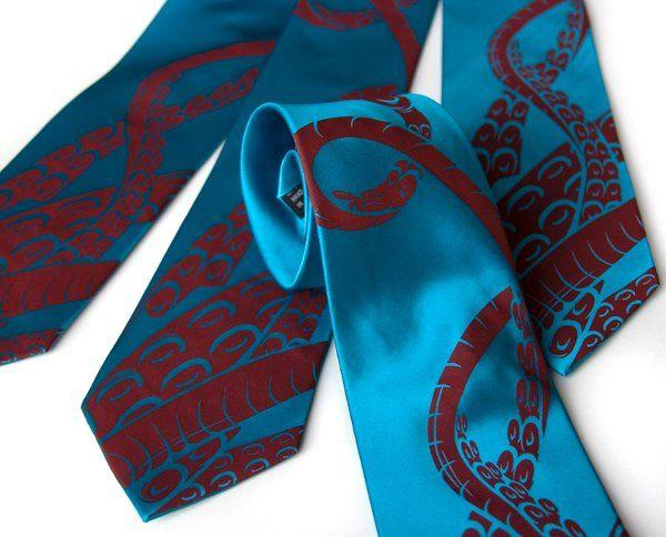 Sucker necktie (detail), crimson on turquoise silk.