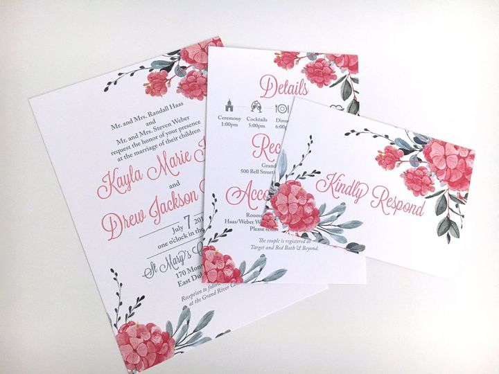 Pink Hydrangea Invitation