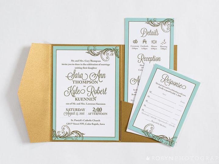 Tmx Mint To Be Wedding Invitation Pocketfold Suite Gold 51 676979 Cedar Rapids, Iowa wedding invitation