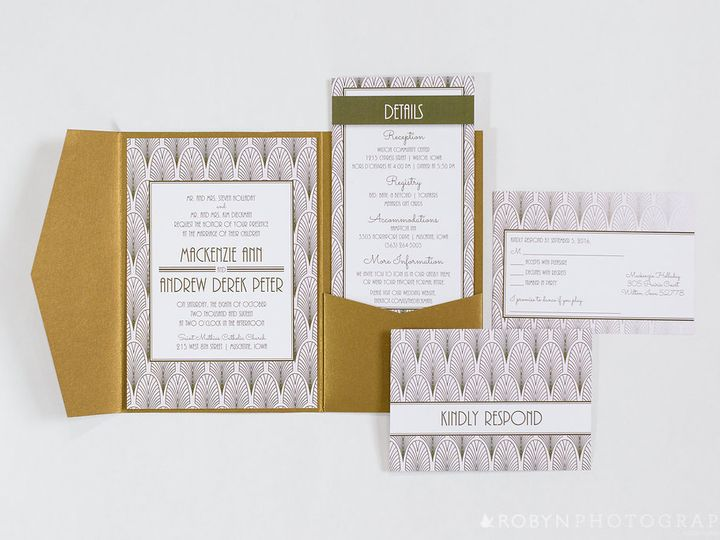 Tmx Roaring Romantics Pink Gold Wedding Invitation Pocketfold Suite Outside 51 676979 Cedar Rapids, Iowa wedding invitation