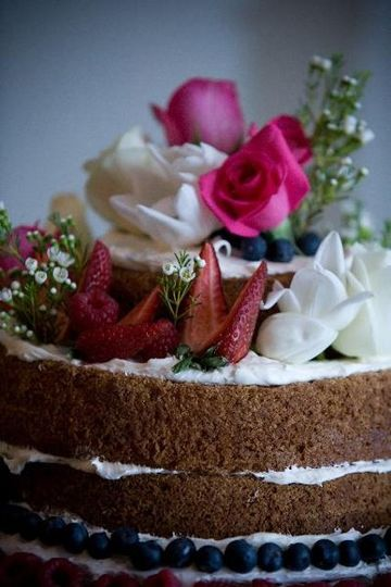 Almond Soaked Naked Pound Cake with Fresh Berries