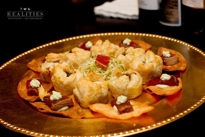 Passed h' ordeuvres:  Blackened Ahi Tuna with Avocado Crema on Toasted Pita and Mushroom Fennel...