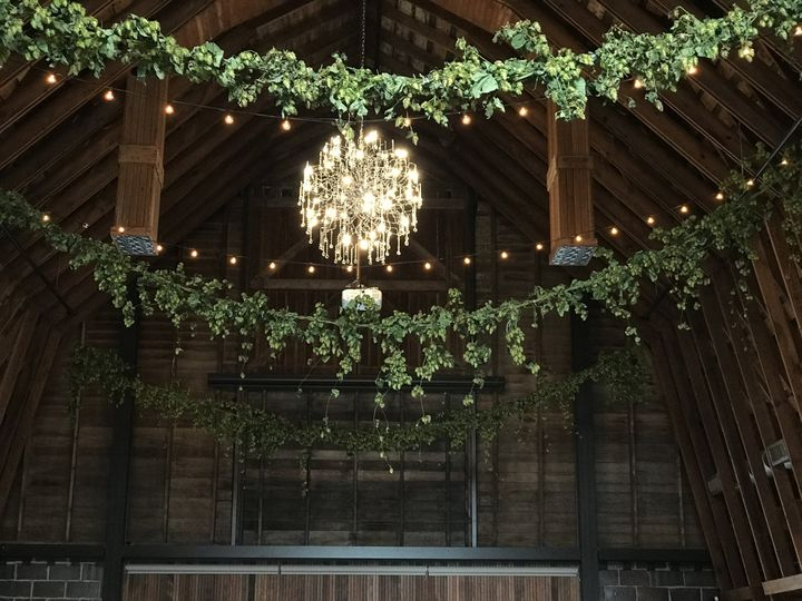 Overhead garland of hops