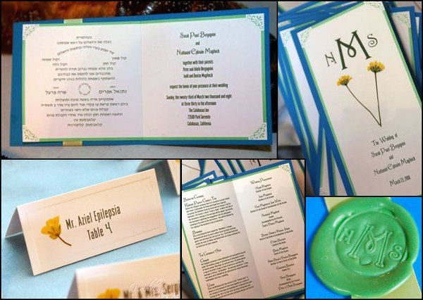 Custom invitations, thank you notes, wedding programs, place cards & favor labels.