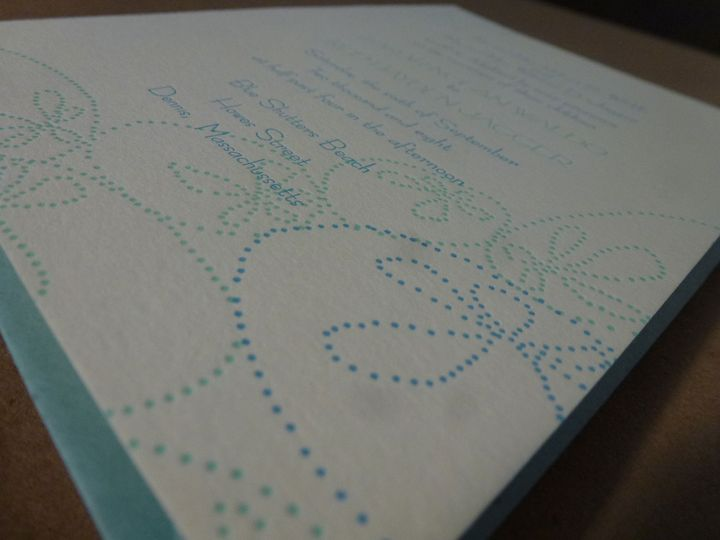 Two color invitations with blue envelopes