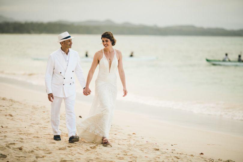 Beach wedding look