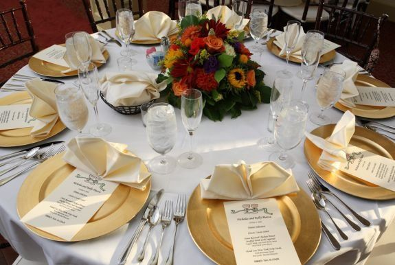 Table setting with gold plates