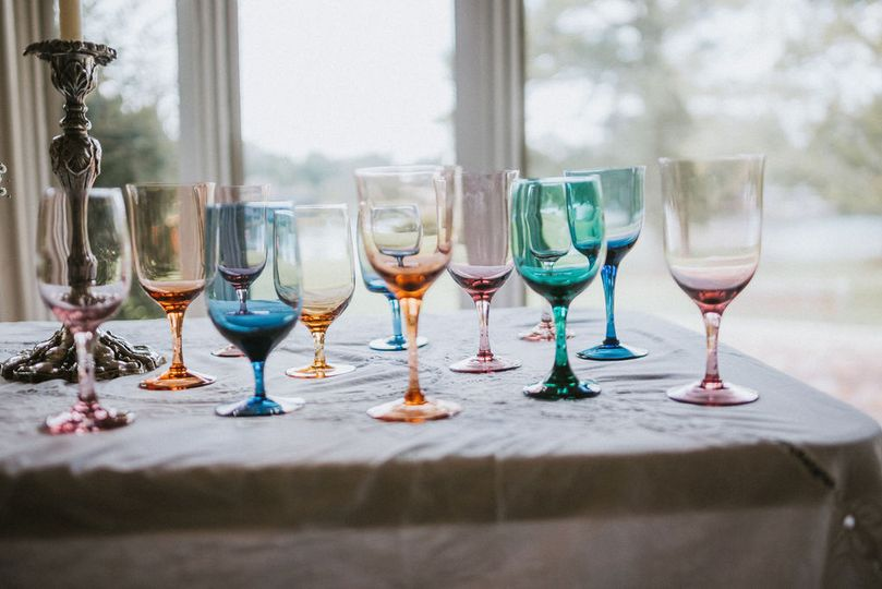 A variety of glassware