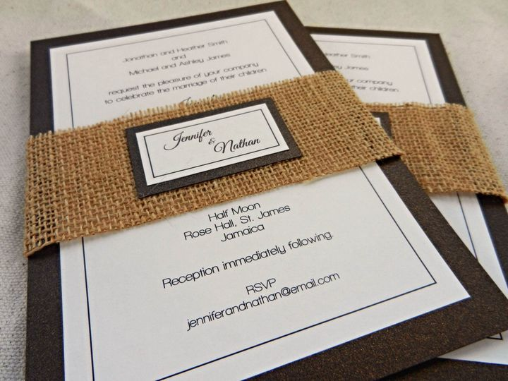 Brown and Ivory Invitation with Burlap Wrap