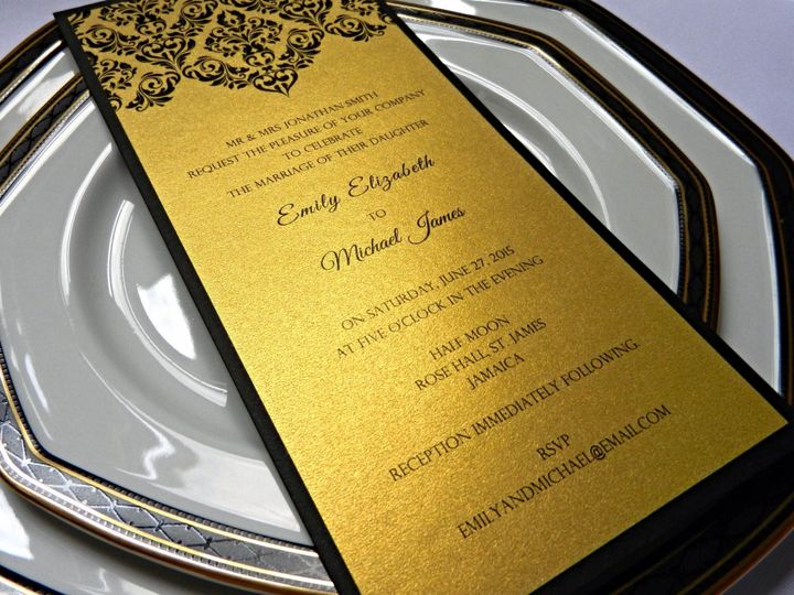 Black and Gold Damask Invitation