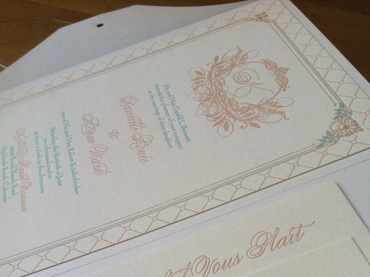 Tmx 1353107463479 Weddinginvitationletterpresssuitepocketfold Denver wedding planner