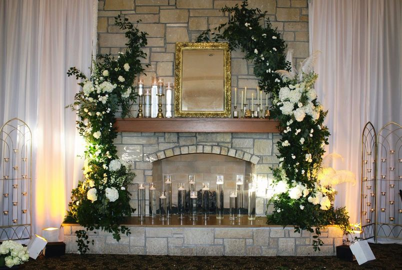 Greenery and floral fireplace