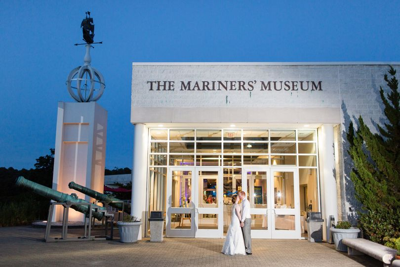 Bridal Portrait  in front of the Grand Entry at The Mariners Museum and Park