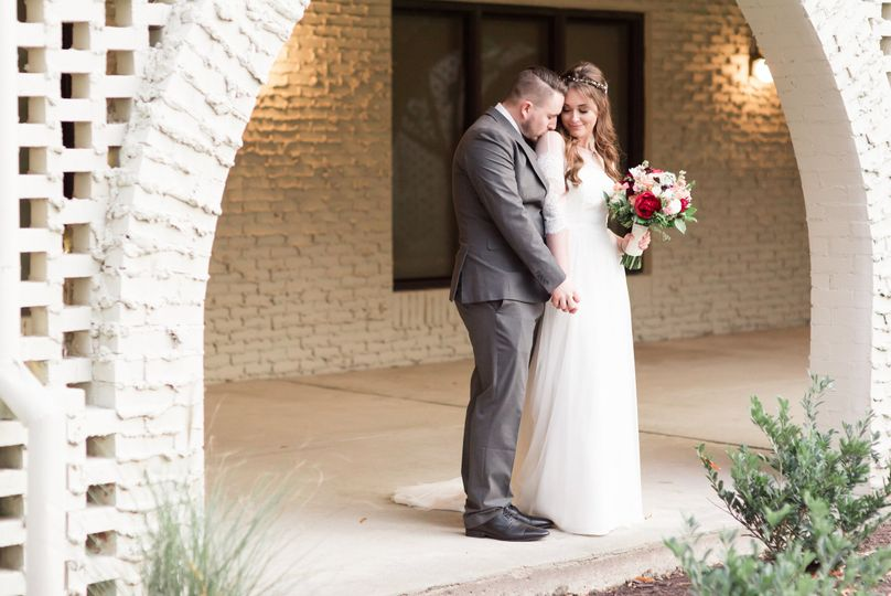 Bridal Portrait in the South Courtyard at The Mariners Museum and Park