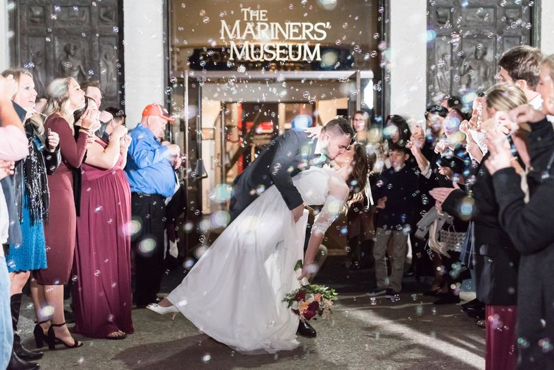 Wedding exit in front of the Business Entrance at The Mariners' Museum and Park