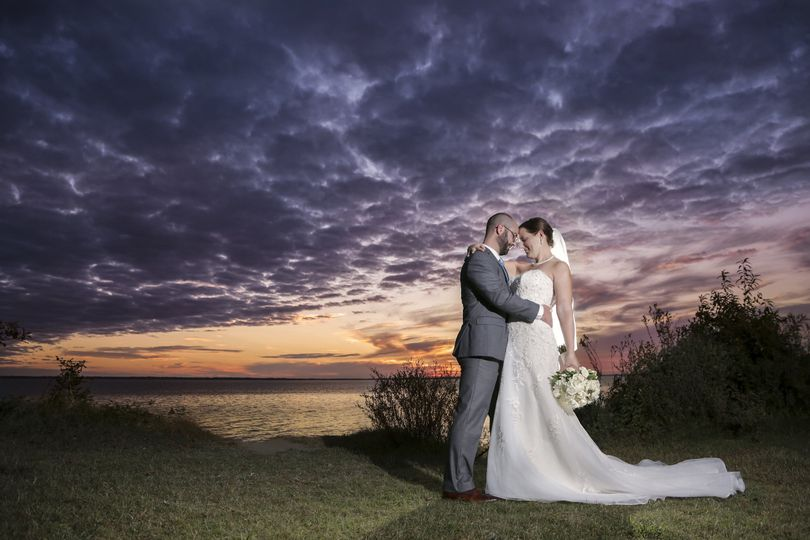 Bridal Portrait overlooking the James River from the Lions Bridge at The Mariners' Museum and Park