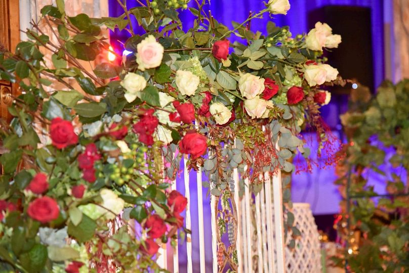 White and red floral design