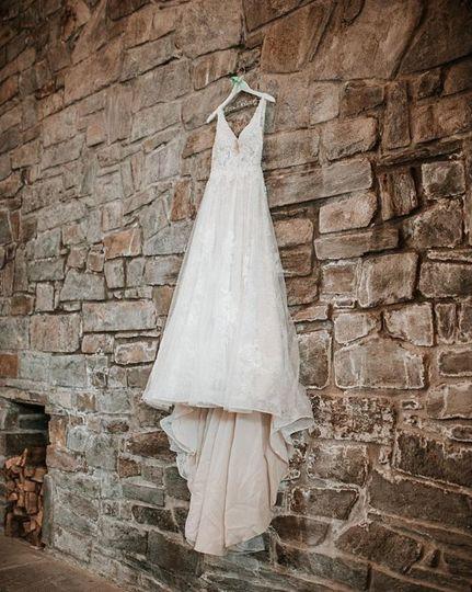 Wedding dress in the ballroom