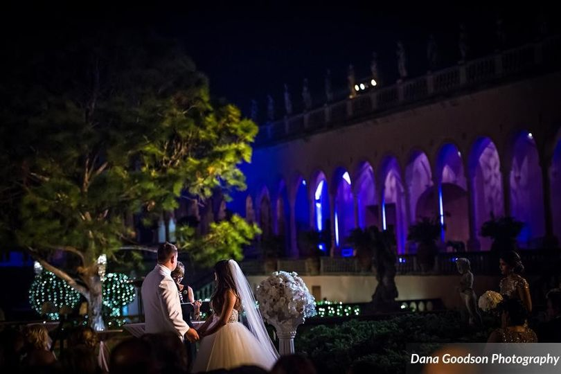 vows shared under a Summer evening sky at the Ringling Museum of Art
