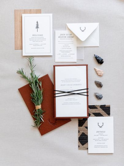 Leather mounted invitation
