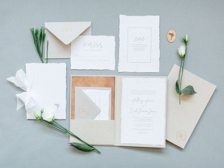 Linen and wood folio invite