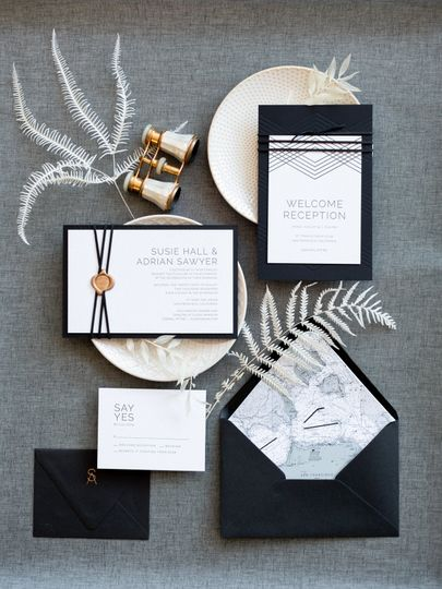 Black, elegant invite suite