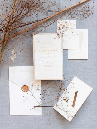Linen and wood invitation