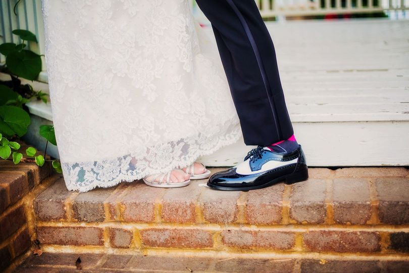 Detail of bride and groom shoes