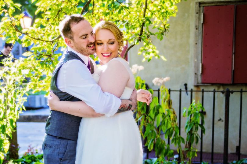 Bride and groom embrace during their first look