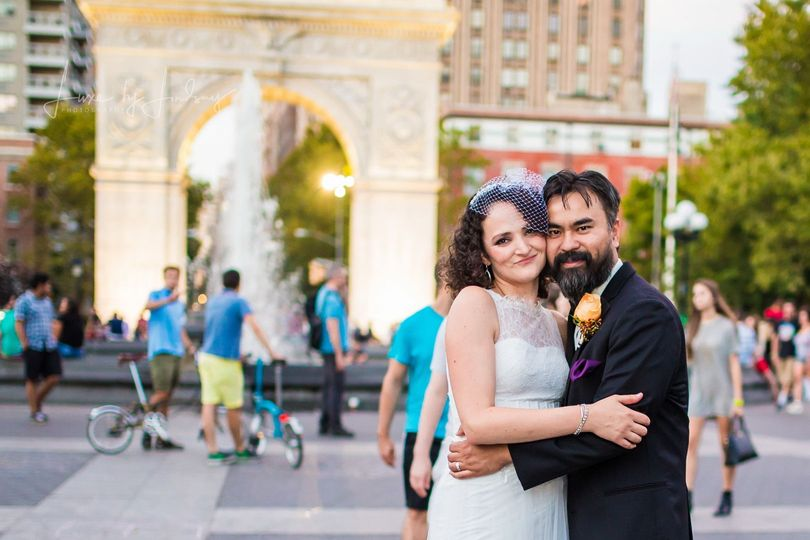 Bride and groom portrait at the Arch in Washington Square Park, NYC