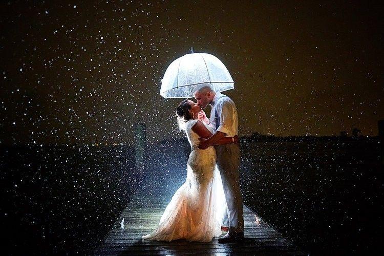 Bride and groom rain at night
