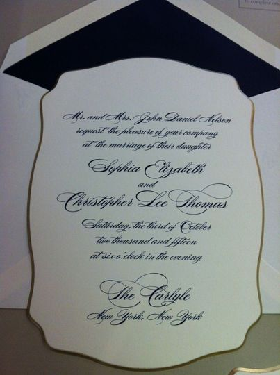 This is a brand new 'super thick' invitation that has a gilded edge.  The fine printing on this...