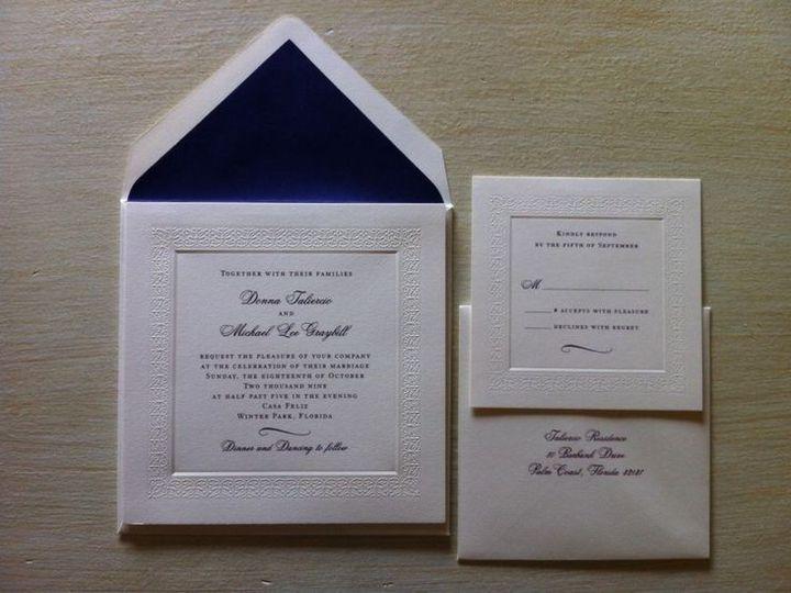 Tmx 1400089305647 5d5acdc41b5fca15d07caa649d84850 Winter Park, Florida wedding invitation