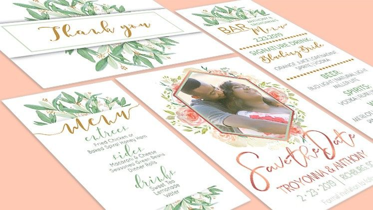 Blush with greenery invitation suite