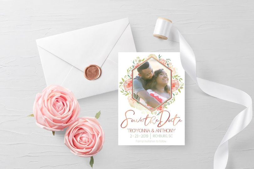 Blush save-the-dates